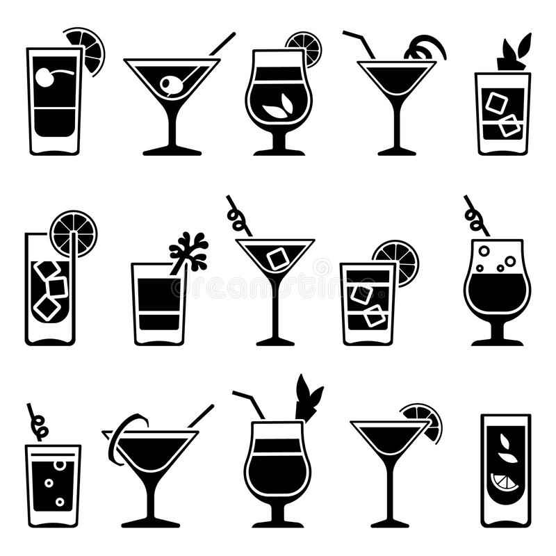 cocktails and drinks vector black icons stock vector