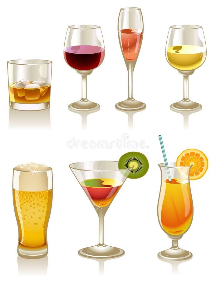 Cocktails et boissons illustration de vecteur