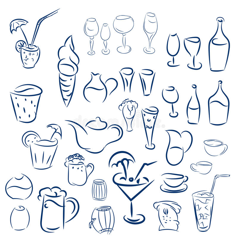 Cocktails et desserts de griffonnages illustration libre de droits