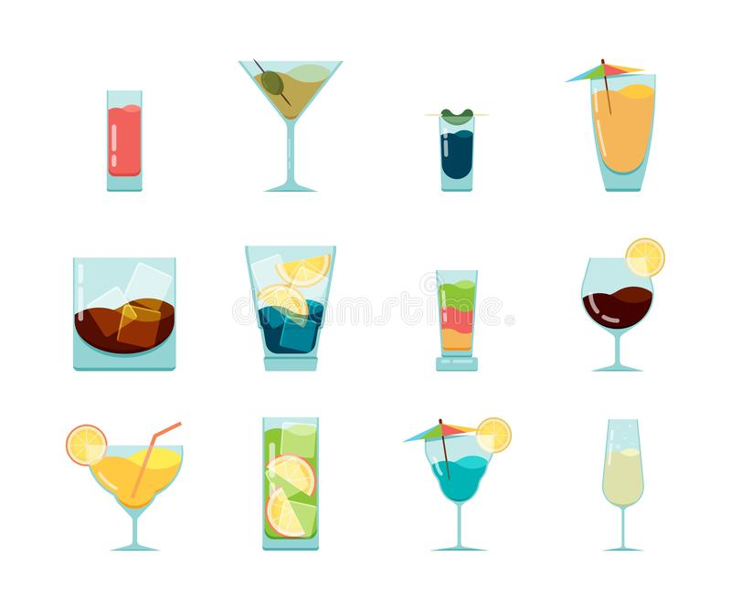 Cocktails flat icon. Alcoholic summer party drinks in glasses cuba libre cosmopolitan vodka mojito vector icon. Collection isolated on white stock illustration