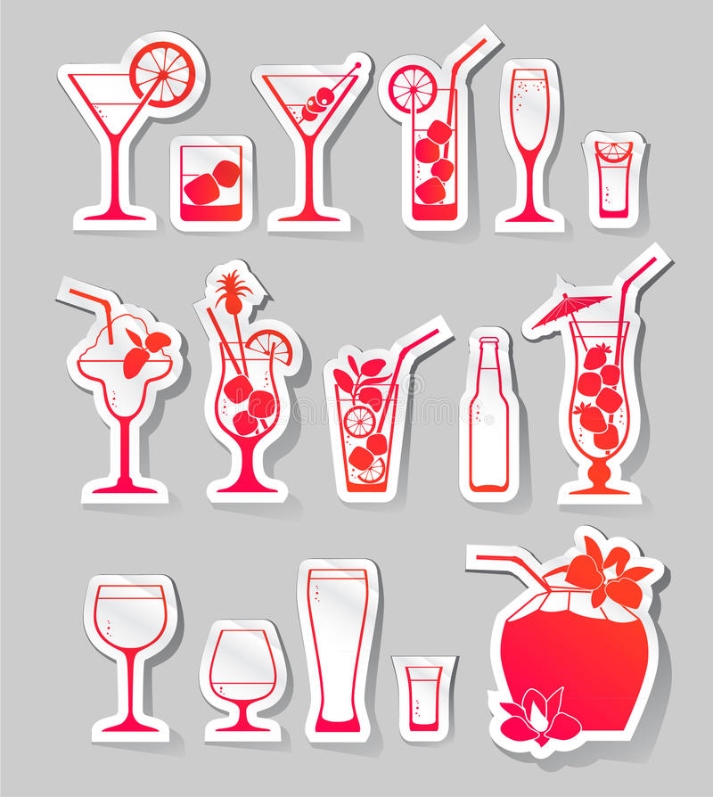 Cocktails and glasses with alcohol on stickers. Vector Illustration of Cocktails and glasses with alcohol on stickers royalty free illustration