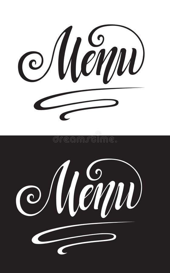 Menu title. Cocktails handwritten lettering design set. Restaurant cafe menu titles. Calligraphic headlines. Black font on a white background and inverted image vector illustration