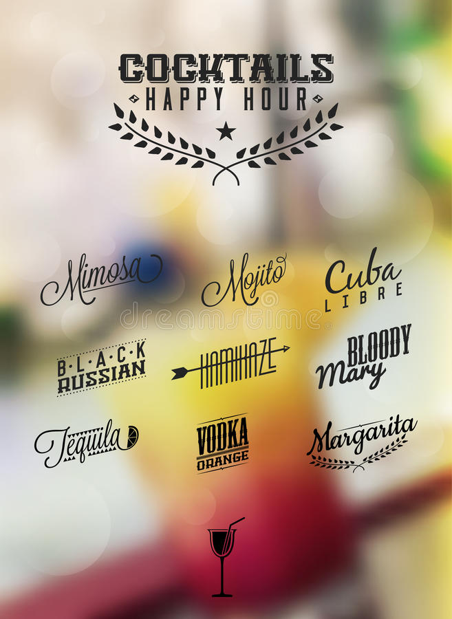 Cocktails Happy Hour Cocktails Label royalty free illustration
