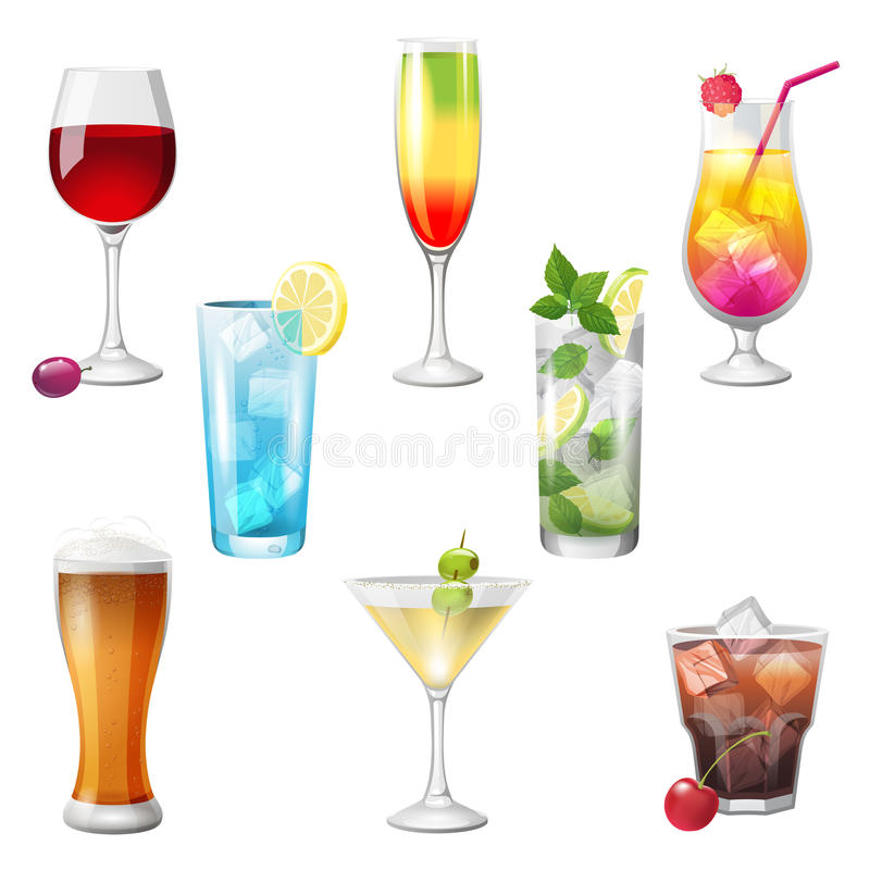 Cocktails. 8 highly detailed cocktails icons stock illustration