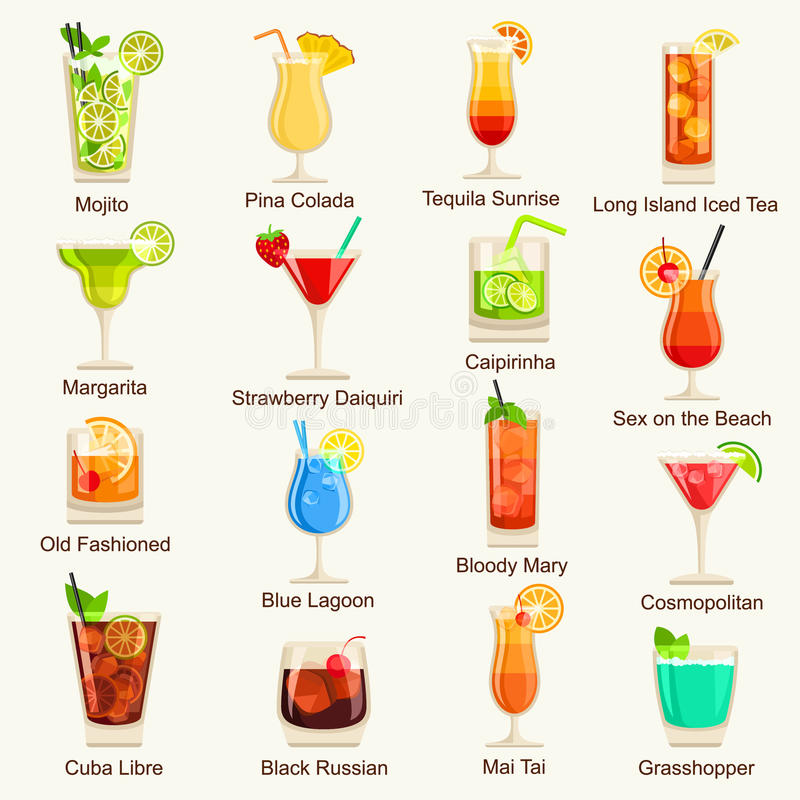 Cocktails icon set. Vector Illustration.  royalty free illustration