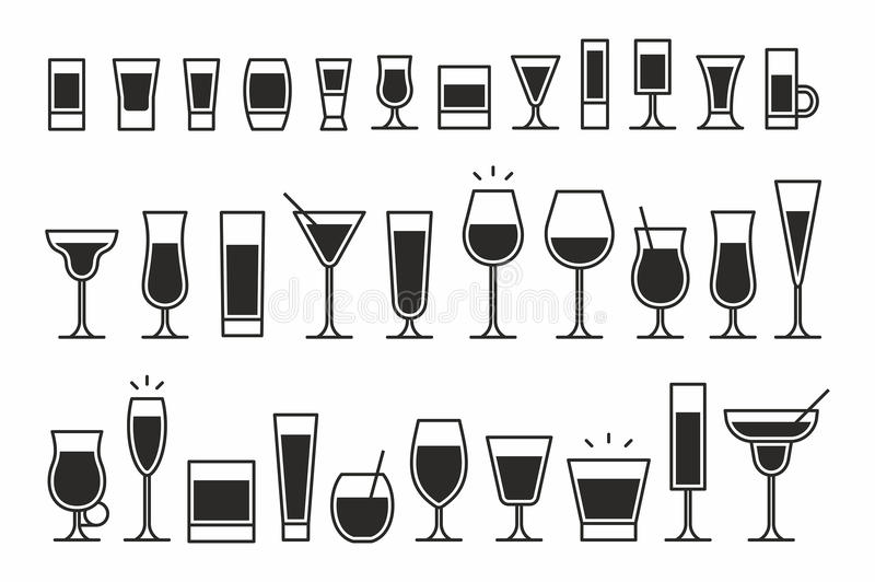 Cocktails Icons. Vector collection of isolated cocktails icons vector illustration