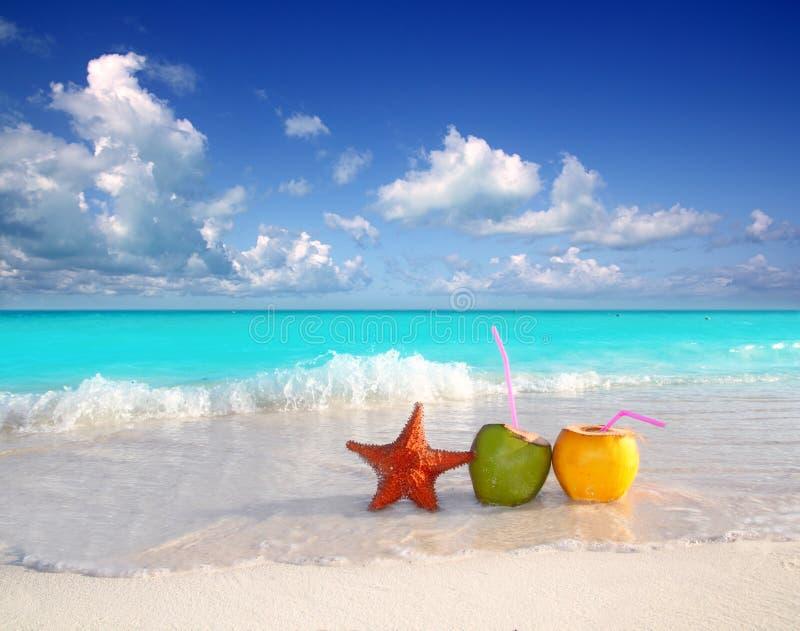 Cocktails jus de noix de coco et plage d'étoiles de mer photo libre de droits