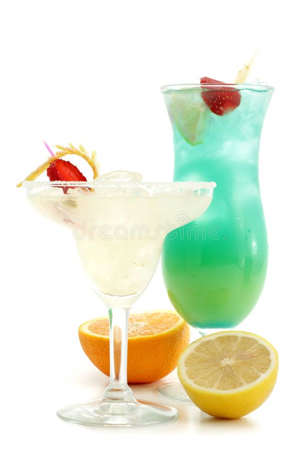 Cocktails - Margarita en Blauw Hawaï royalty-vrije stock foto's