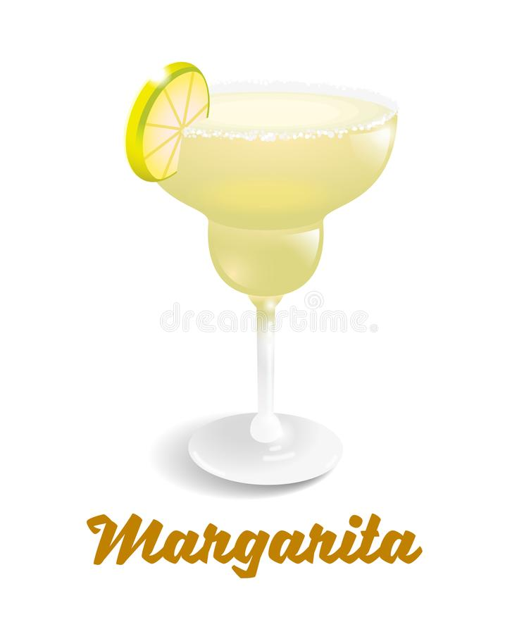 Cocktails Margarita. Yellow frozen alcoholic cocktail drink fresh Margarita in good glass. It`s best made with tequila, fresh lime juice, and agave syrup. Modern vector illustration