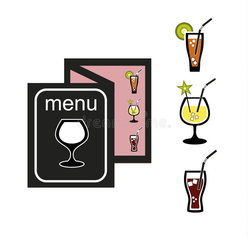 cocktails menu Geplaatste pictogrammen Vector voorraadillustratie royalty-vrije illustratie