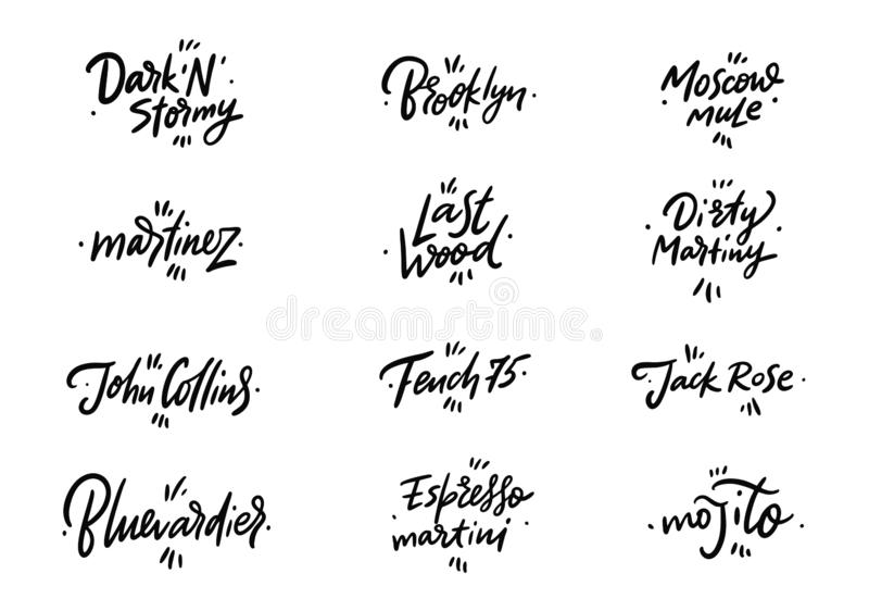 Cocktails Names hand drawn  lettering. Isolated on white background royalty free illustration