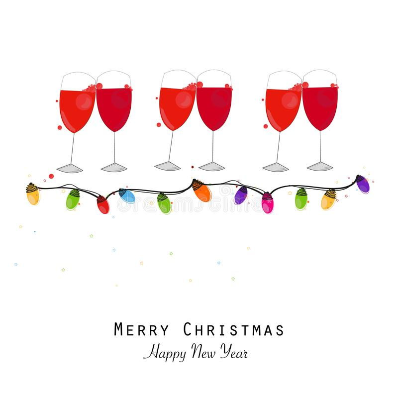 Cocktails party. New year evening. Happy new year greeting card. Red wine glass with colorful light bulb royalty free illustration