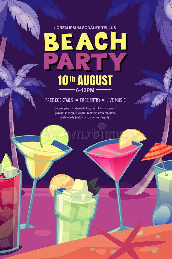 Cocktails party on night beach. Vector poster, banner layout. Tropical bar background with alcohol cocktails and palms. Cocktails party on the night beach vector illustration