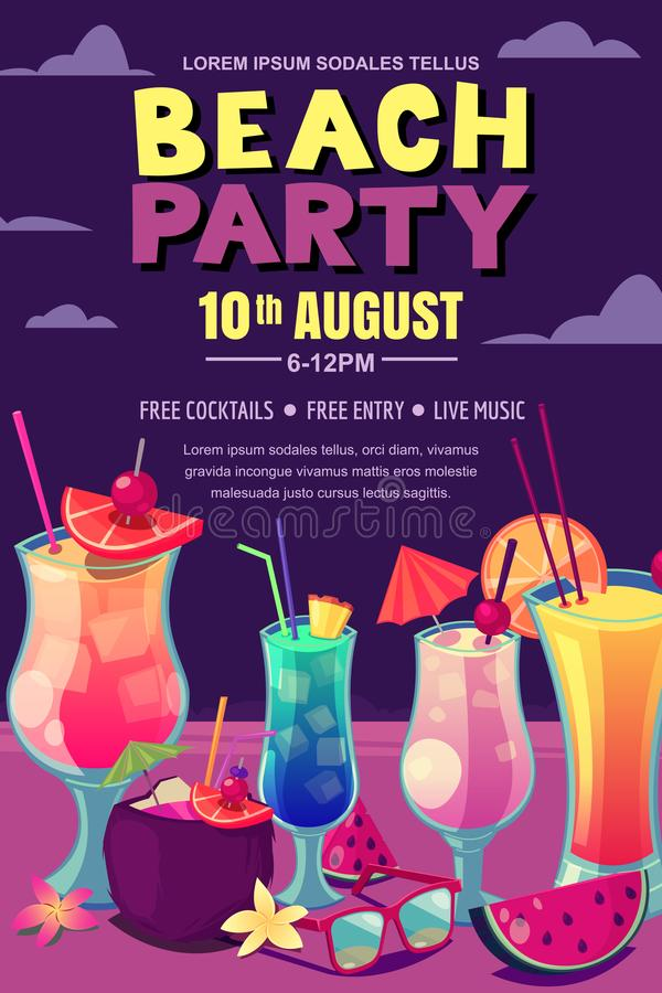 Cocktails party on the night beach. Vector poster, banner layout. Tropical bar background with alcohol cocktails. On sand. Cartoon style illustration royalty free illustration