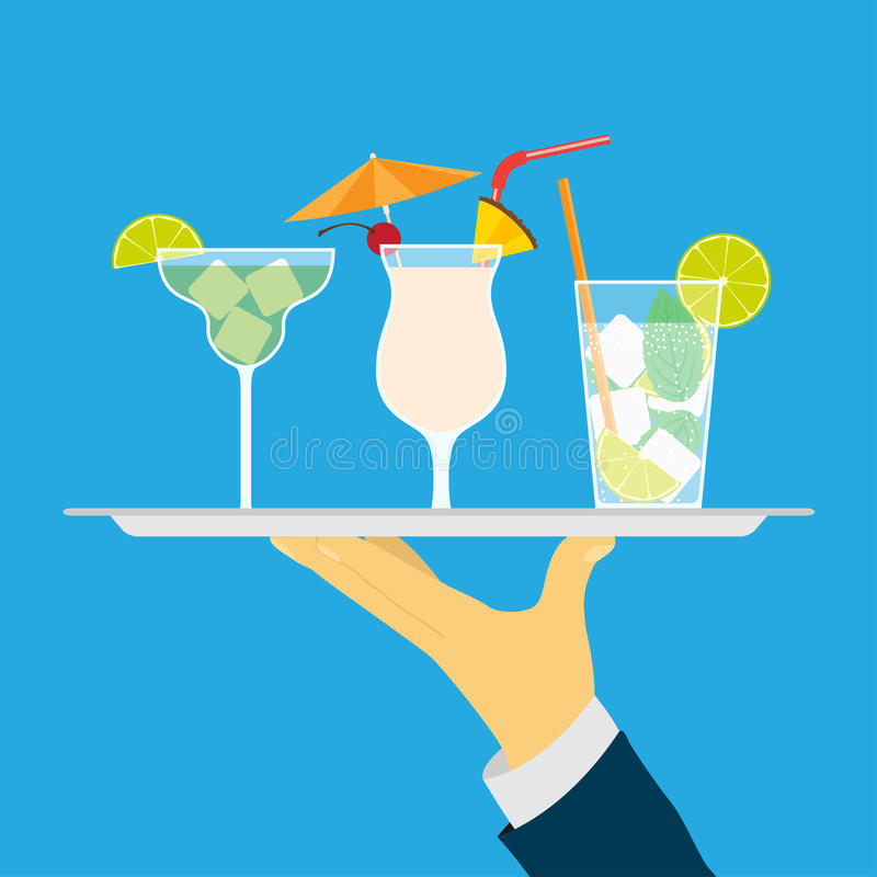 Cocktails. Picture of human hand holding tray with cocktails, flat style illustration stock illustration