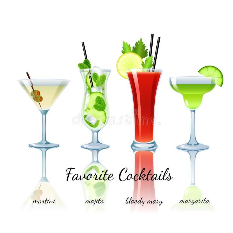 Cocktails préférés réglés, d'isolement illustration stock