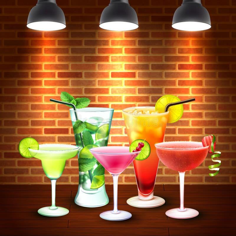 Cocktails Realistische Gekleurde Samenstelling stock illustratie