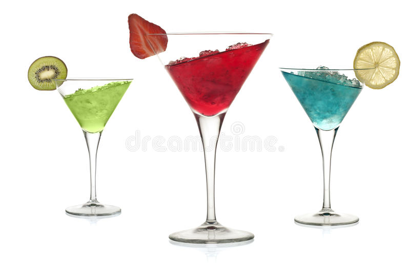 Cocktails. Set of alcoholic cocktails with leaning liquid stock photo
