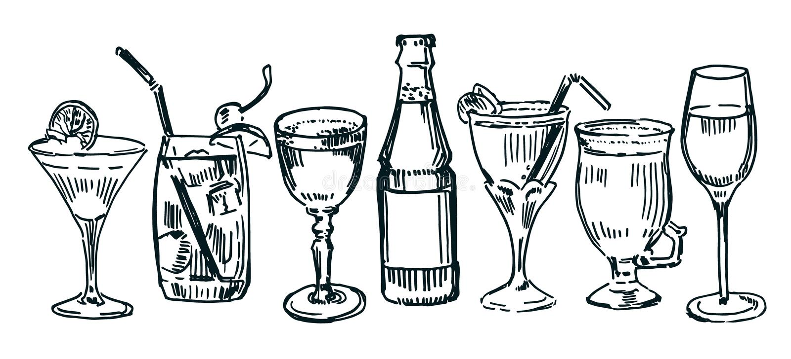 Cocktails. Set of drawn cocktails isolated on white stock illustration