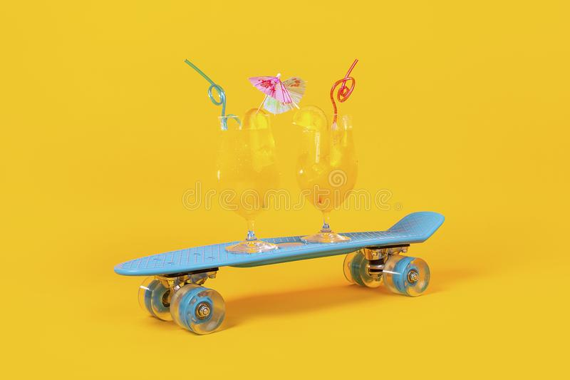 Cocktails and skateboard. Two cocktails with orange juice and ice cubes on a blue skateboard, concept drink for hot summer days stock photos