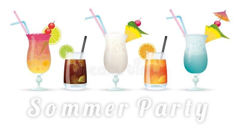 Cocktails Sommer Party illustration stock
