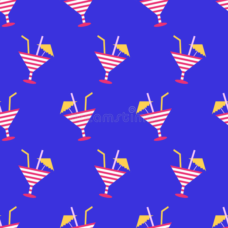 Cocktails summer seamless pattern on neon blue background. 80s, 90s retro style. Fashion textile design, geometric shapes. Vector illustration royalty free illustration