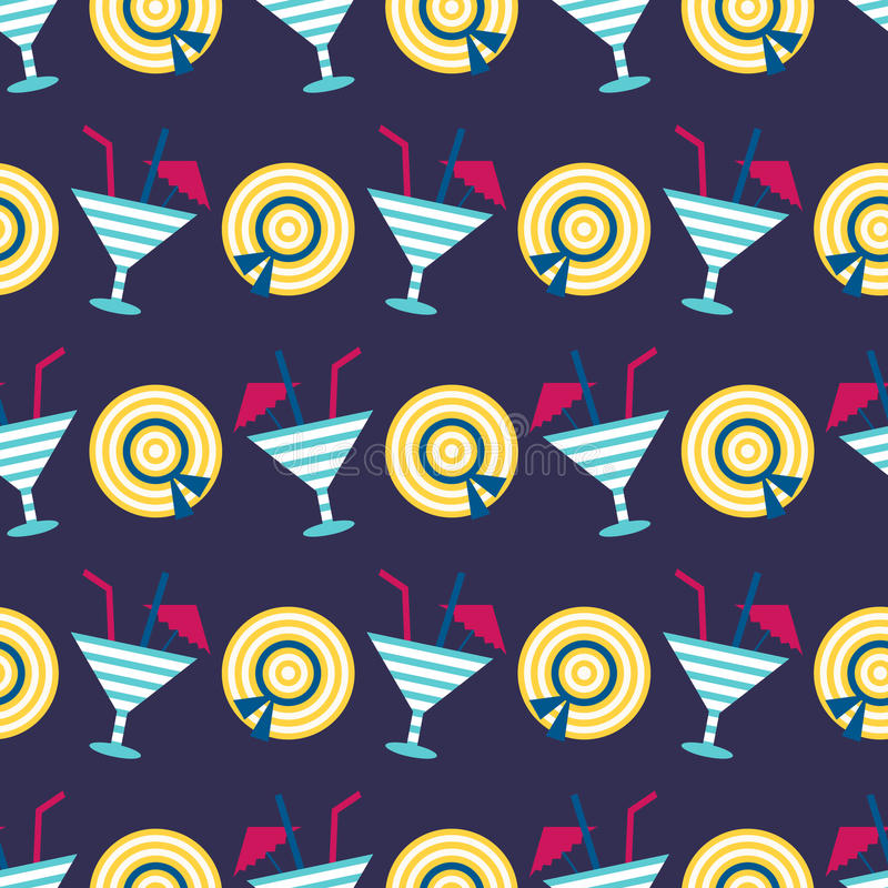 Cocktails summer seamless pattern. 80s, 90s retro style. Fashion textile design, geometric shapes. Vector illustration stock illustration