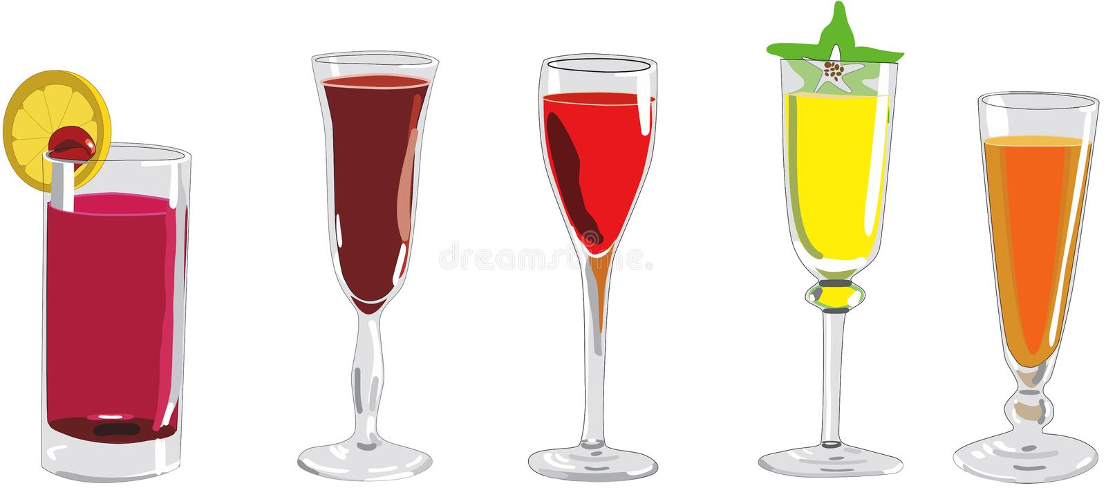 Cocktails vector. Colorful with fruits liquor stock illustration
