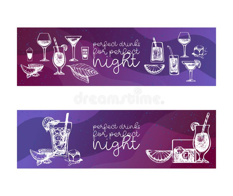 Cocktails vector set for menu design, bars, restaurants, cafes, parties. White sketch of alcoholic coctail beverages. Long island, Margarita, Mojito, Daiquiri stock illustration