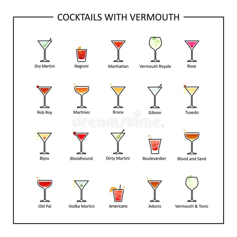 Free Cocktails With Vermouth Guide, Colored Icons On White Background. Vector Royalty Free Stock Image - 97514886