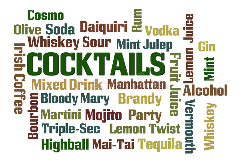 Cocktails. Word cloud on white background stock illustration