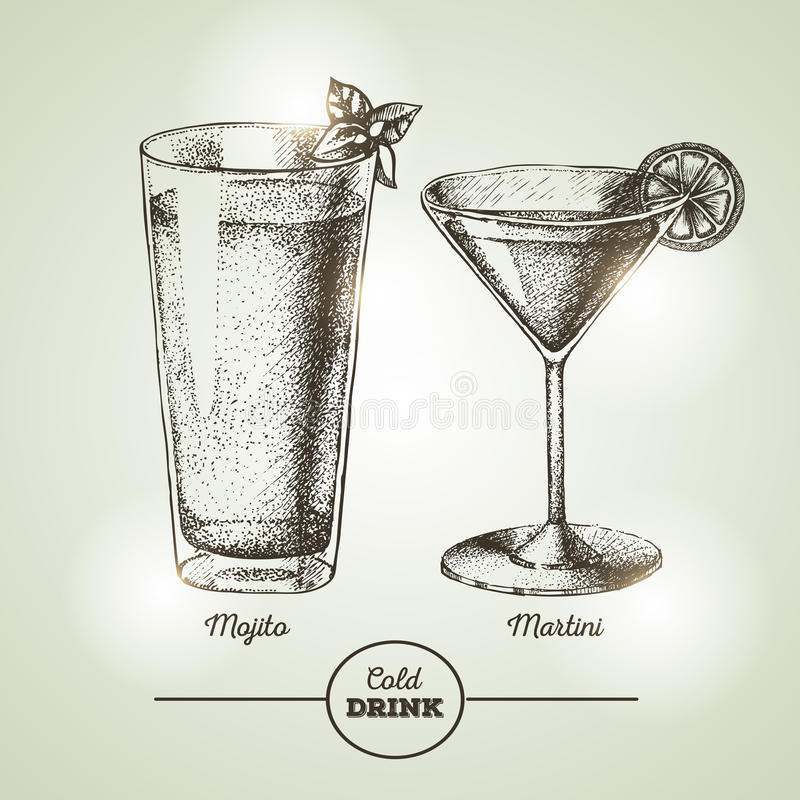 Cocktailschets vector illustratie