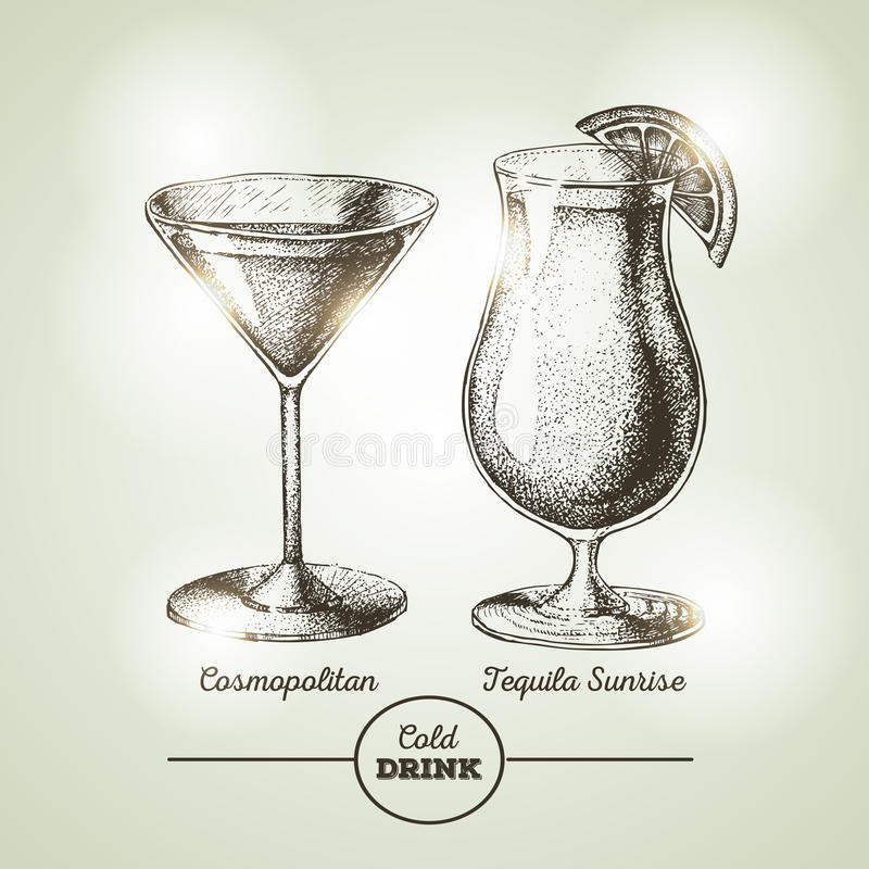 Cocktailskizze stock abbildung