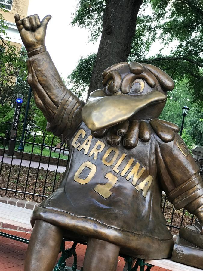 Cocky, Bronze Statue of the University of South Carolina`s Mascot.  royalty free stock photos