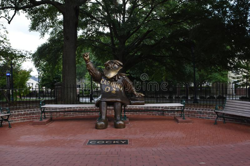 Cocky, Bronze Statue of the University of South Carolina`s Mascot.  royalty free stock image