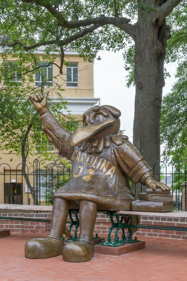 Cocky the Gamecock School Mascot Sculpture. COLUMBIA, SC/USA JUNE 5, 2018: Cocky the Gamecock mascot statue on the campus of the University of South Carolina stock image