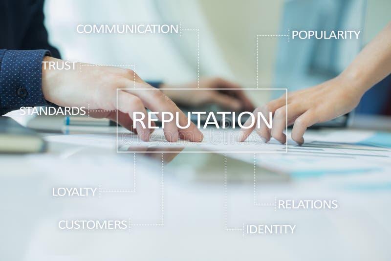 Cocnept do negócio da reputação e do relacionamento do cliente na tela virtual imagens de stock royalty free