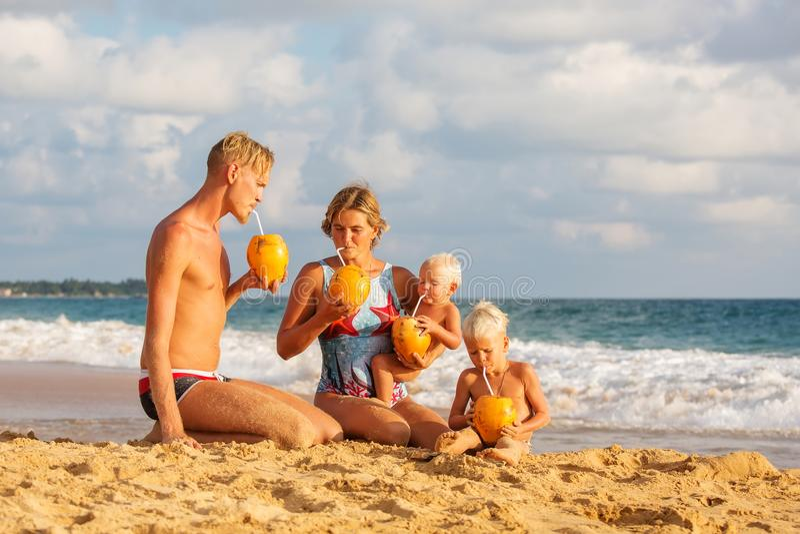 Cocnut de boissons de famille à la plage au coucher du soleil photographie stock libre de droits