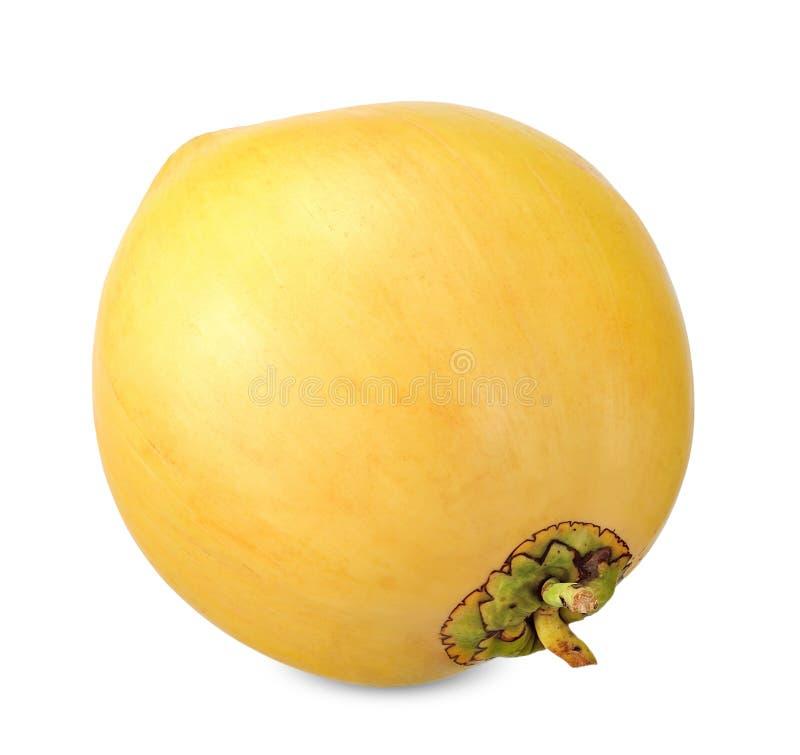 Coco amarillo aislado en la trayectoria que acorta blanca fotos de archivo