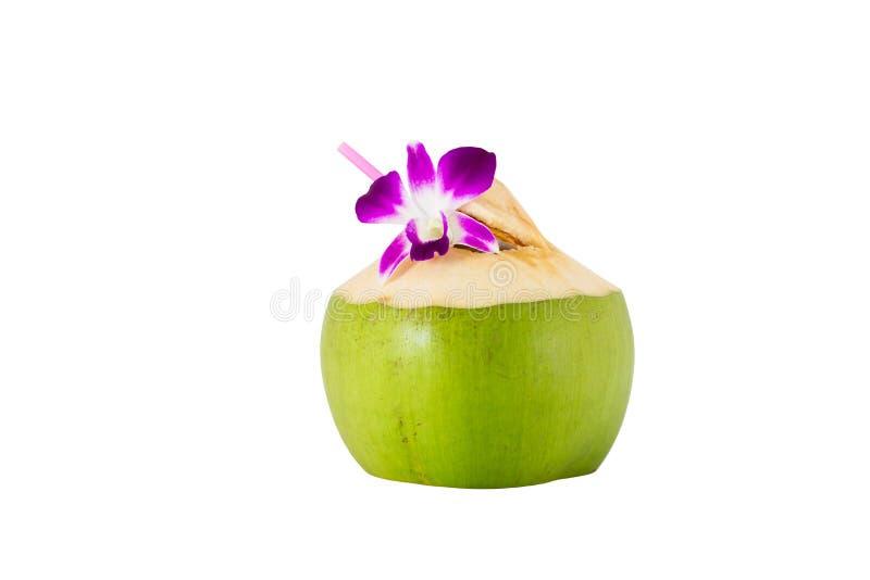 Coco con la paja y la orquídea imagenes de archivo