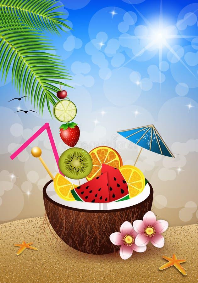 Coco con las frutas en la playa ilustración del vector