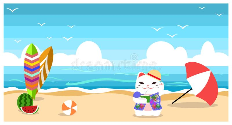 Coco da bebida do gato em desenhos animados lisos do projeto do fundo da praia do verão do beira-mar ilustração stock