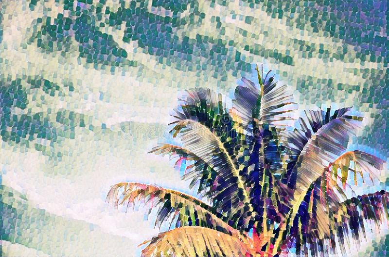 Coco drzewko palmowe na niebo cyfrowej ilustraci w obrazu stylu Tropikalny urlopowy sztandaru szablon z teksta miejscem ilustracja wektor
