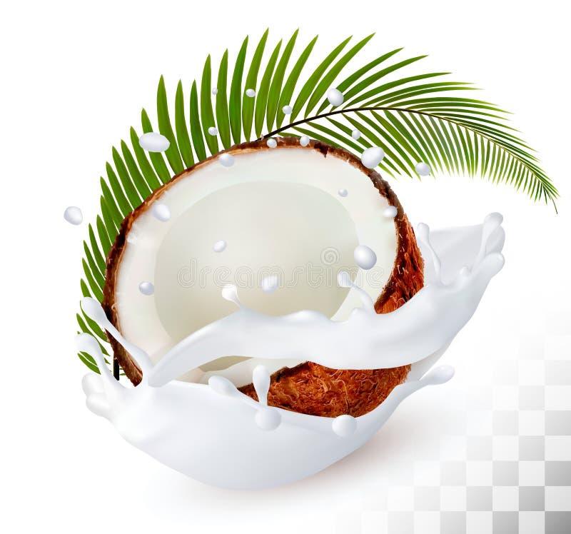 Coco em um respingo do leite em um fundo transparente ilustração do vetor