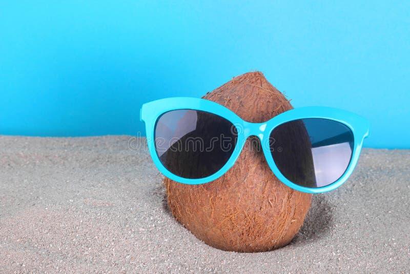 Coco en gafas de sol en arena de mar imagen de archivo