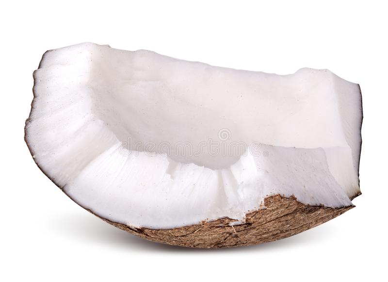 Coco isolado no fundo branco Trajeto de grampeamento fotografia de stock royalty free