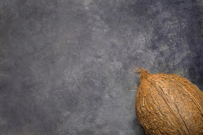 Coco maduro entero en Grey Grungy Stone Background Posición de la esquina Plantilla para el aviador del cartel Balneario tropical imágenes de archivo libres de regalías