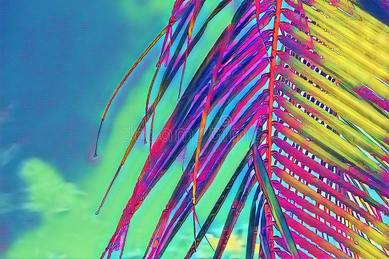 Coco palm leaf closeup on sky background. Neon palm leaf on vibrant sky. Tropical vacation digital illustration. Summer banner template with text place. Fluffy royalty free stock images