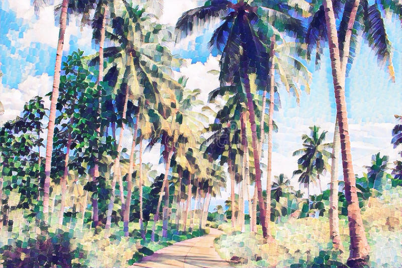 Coco palm tree alley with greenery. Tropical nature digital painting. Exotic vacation banner template. Sunny day and blue sky background. Summer holiday royalty free illustration