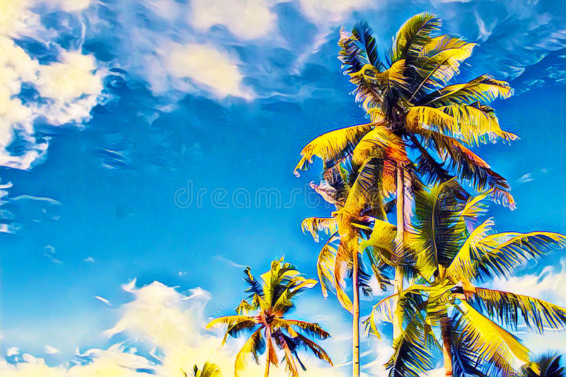 Coco palm tree with green leaves on blue sky. Tropical island vacation vivid digital illustration. royalty free stock photography